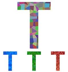 Mosaic font design - letter t vector