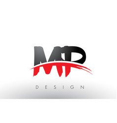 Mp m p brush logo letters with red and black vector