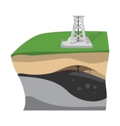 Oil extraction cartoon icon vector image