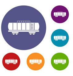 oil railway tank icons set vector image