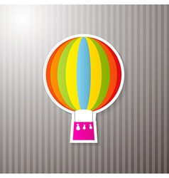 Paper Colorful Hot Air Balloon on Cardboard vector