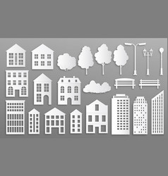 Paper cut buildings house mansions silhouettes vector