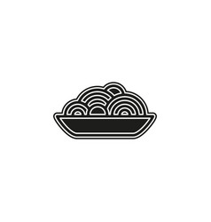 pasta plate icon - spaghetti noodle bowl - meal vector image