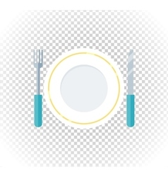 Plate fork knife design flat icon vector