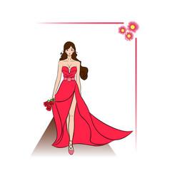 postcard beautiful girl vector image