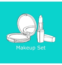 Powder and lipstick vector
