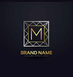 Premium letter m logo in geometric shape style vector