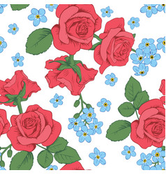 Red roses and myosotis flowers on white background vector