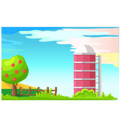 rural landscape with granary cartoon vector image