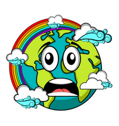 sad earth emote earth day vector image