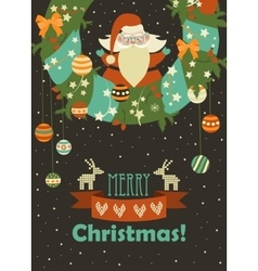 Santa Claus celebrating Christmas vector image