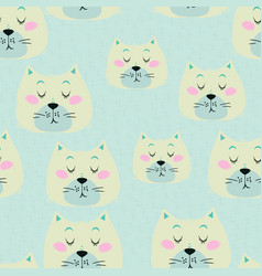 seamless pattern with cute sleeping cat vector image