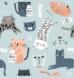 Seamless pattern with different funny cats vector