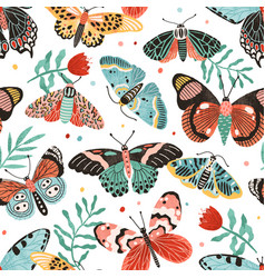 seamless pattern with gorgeous butterflies and vector image