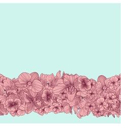 Seamless vintage flower border vector image