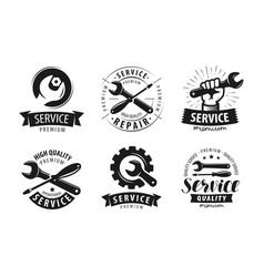 service repair set of labels or logos vector image