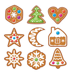 set colorful xmas gingerbread cookies vector image