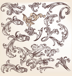 Set flourishes and swirls for design vector