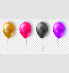 set glossy colorful balloons realistic air 3d vector image