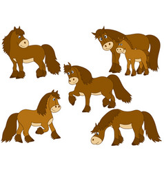 Set of cute cartoon horses vector