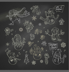 Set of cute chalk snowmen on blackboard background vector