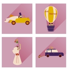 Set of flat icons with long shadow wedding vector