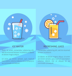 set of ice water and refreshing juice posters vector image