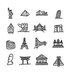 set of travel landmarks icon set vector image