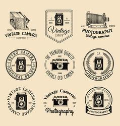 set old cameras logos vintage photo vector image