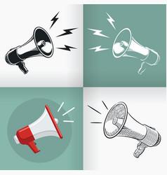 silhouette megaphone horn loudspeaker vintage logo vector image