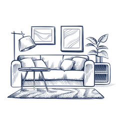 sketch living room doodle house interior with vector image