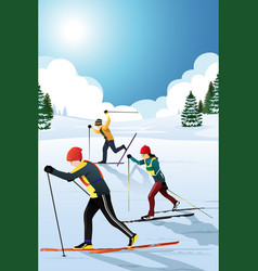 skiers in the winter vector image