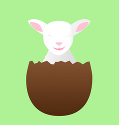 smiling lamb in a chocolate egg vector image