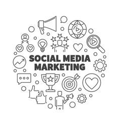social media marketing round outline vector image