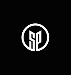 sp monogram logo isolated with a rotating circle vector image