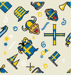 sweden soccer supporter gear seamless pattern vector image