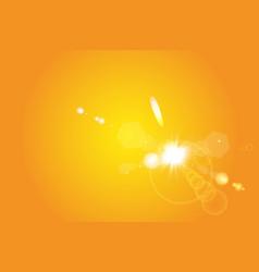 Warm sun on a yellow background summer glare vector