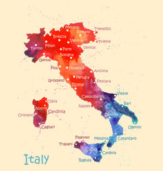 Watercolor map italy with cities stylized vector
