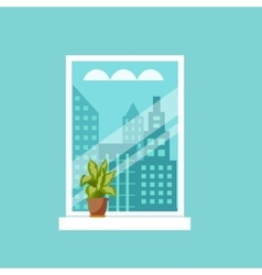 window with house plants and flowers vector image
