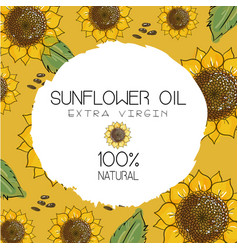 with handdrawn sunflowers vector image