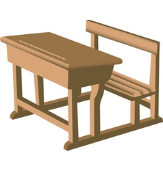Wooden school desk vector