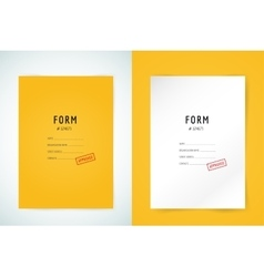 Yellow folder blank Blank paper form and text vector image
