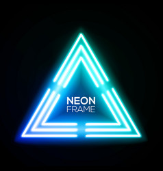 Blue neon light triangle gradient techno frame vector