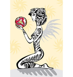 girl tattoo sitting drawing vector image vector image