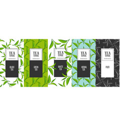 organic tea frame labels vector image vector image
