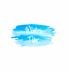 winter time typographic poster watercolor vector image