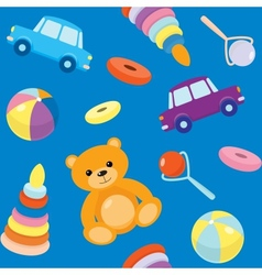 Blue seamless pattern with toys vector image