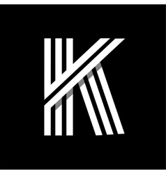 Capital letter K Made of three white stripes vector image vector image