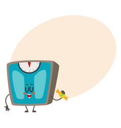 Funny bathroom weight scale character with smiling vector