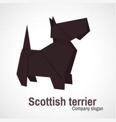origami logo scottish terrier dog vector image vector image